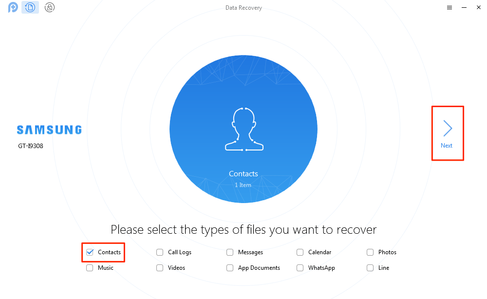 How to Recover Deleted Phone Contacts from Android – Step 2