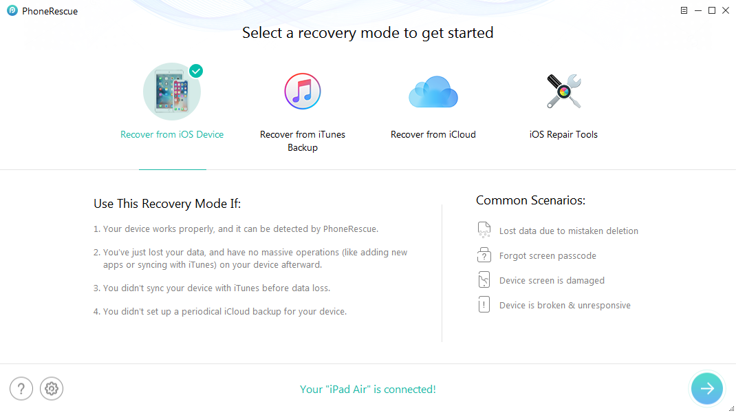 How to Recover Deleted Videos on iPad Air without Backup – Step 1