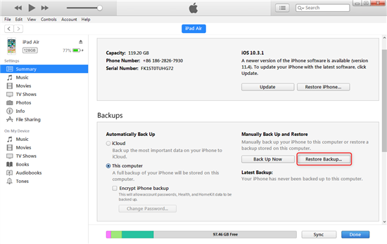 How to Recover Deleted Videos on iPad Air via iTunes – Step 2