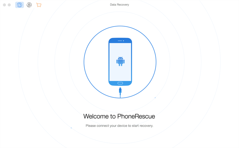 Plug-in phones and launch PhoneRescue