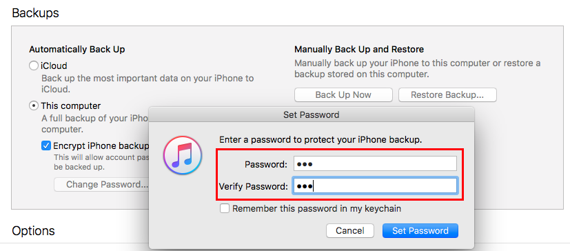 Make an Encrypt iPhone Backup