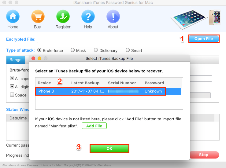 How to Recover iPhone Backup Password - Step 1
