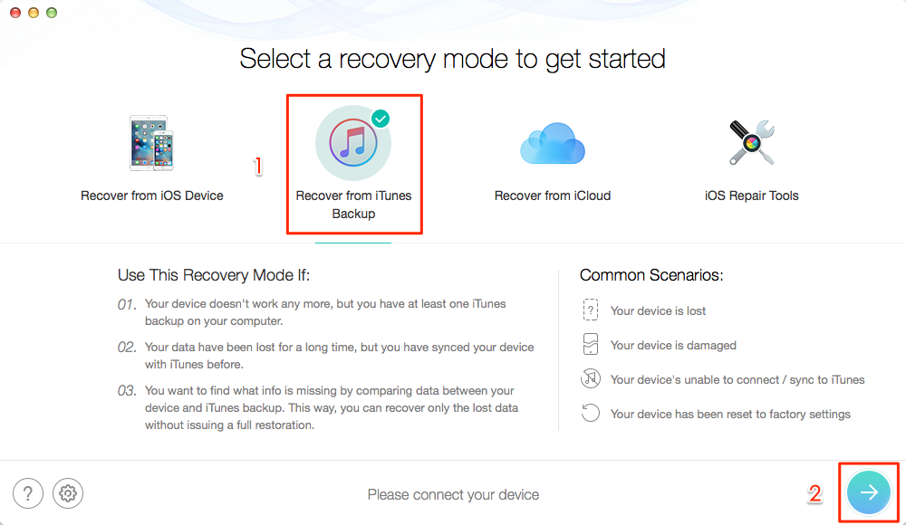 Choose Recover from iTunes Backup – Step 2