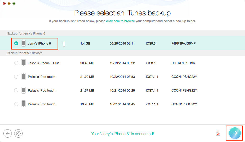 Choose Available Backup to Recover iPhone Contacts – Step 3