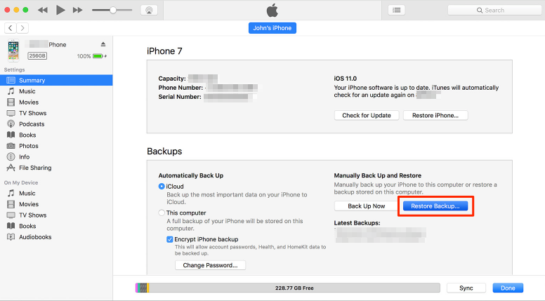 Recover Data from iPhone After Factory Reset - iTunes Backup