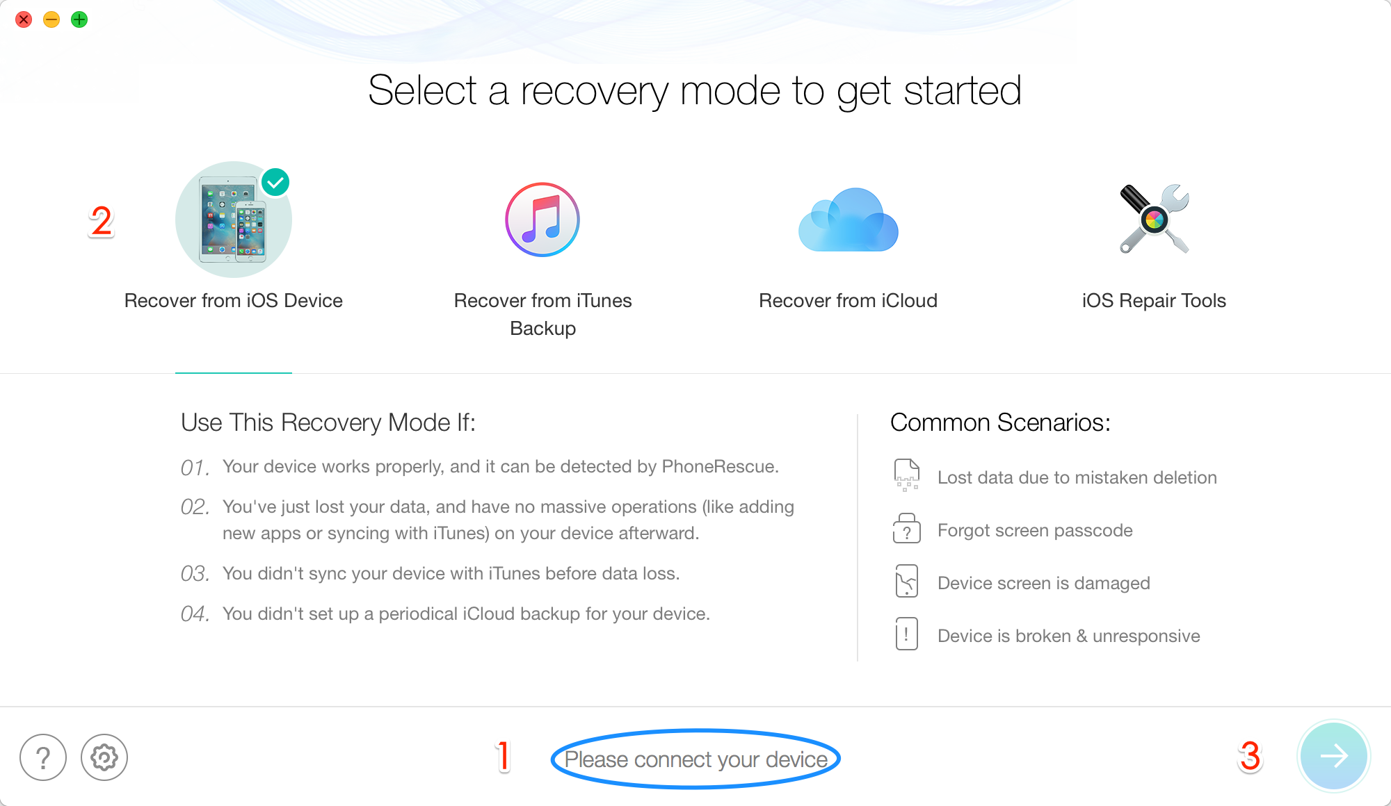 Recover iPhone SE Data without Backup via PhoneRescue – Step 1