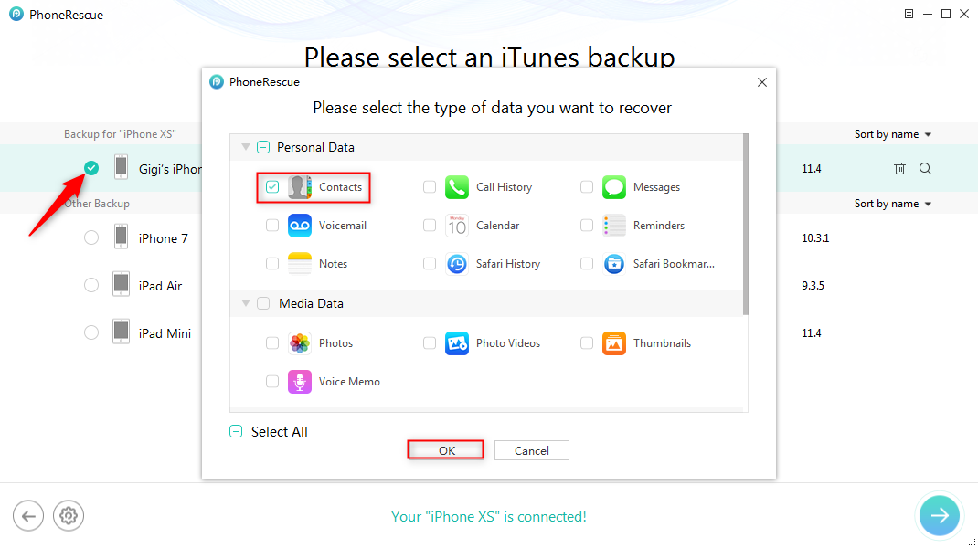 Fix iPhone XS Contacts Missing By Restoring from iTunes Backup – Step 2