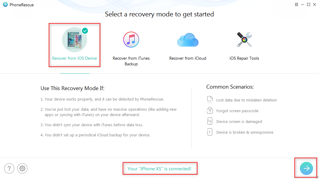 How to Recover Lost Contacts on iPhone XS without Backup – Step 1
