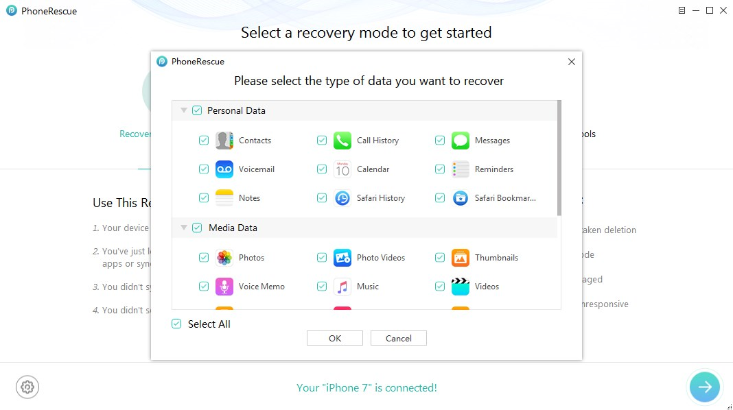 How to Recover Lost iPhone Data After iOS 10 with PhoneRescue - Step 3