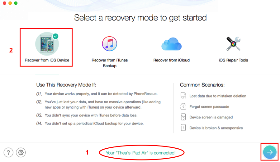How to Recover Deleted iMessages on iPad with PhoneRescue – Step 1