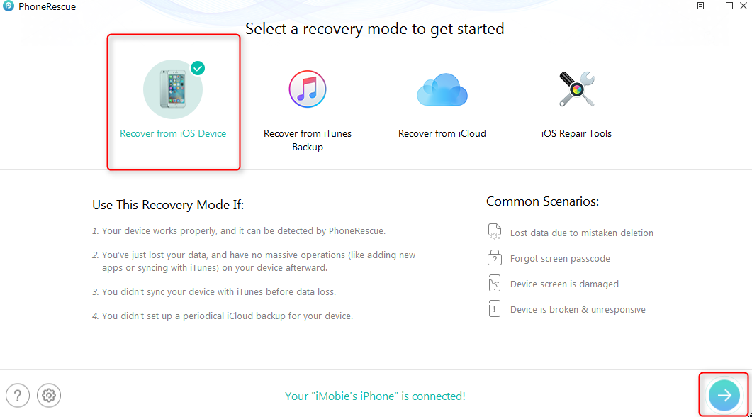 How to Get Photos off Broken iPhone with PhoneRescue – Step 1