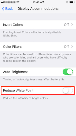 Reduce White Point iOS 11/10