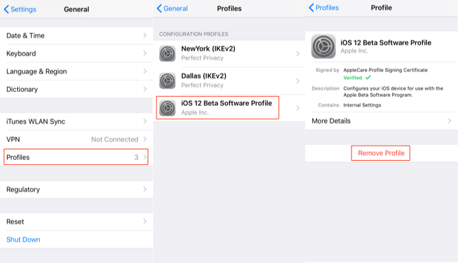How to Remove iOS 12 Beta without Computer - Step 1-3
