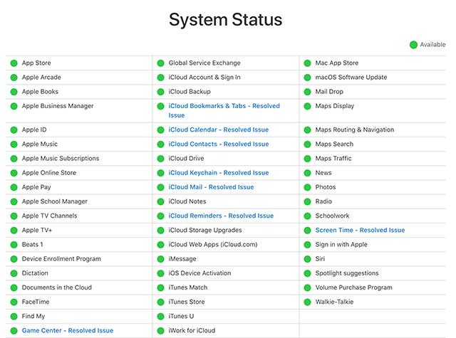 Check Apple servers status