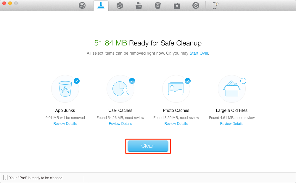 How to Clean Junks and Free Up Space with PhoneClean – Step 3
