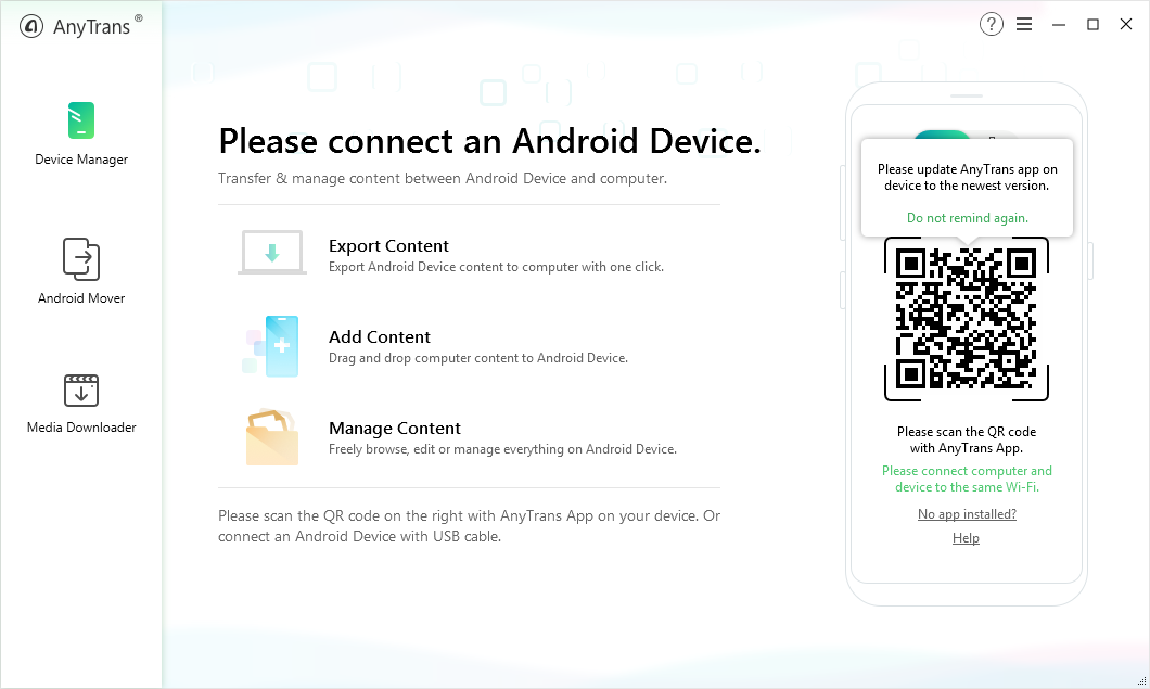 Back up Huawei Phone with AnyTrans for Android