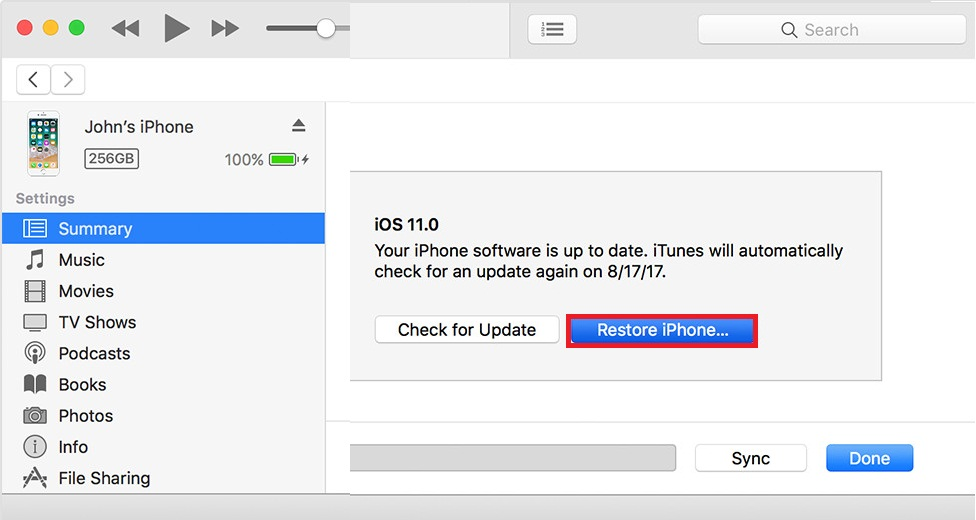 How to Reset iPhone without Passcode using iTunes - Step 2