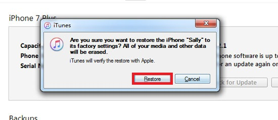 How to Reset iPhone without Passcode using iTunes - Step 3