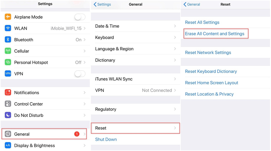 How to Remove Restriction Code on iPhone via Factory Reset