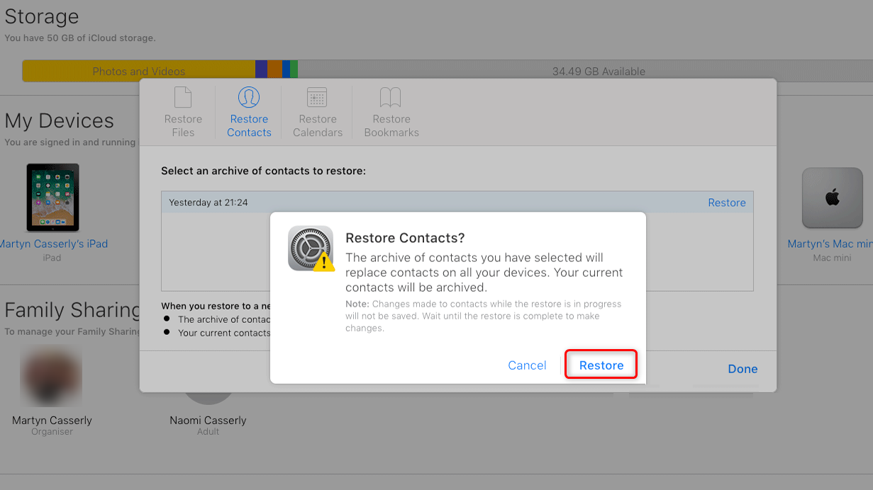 Restore Contacts to iPhone XS/XR By Using iCloud Website – Step 4