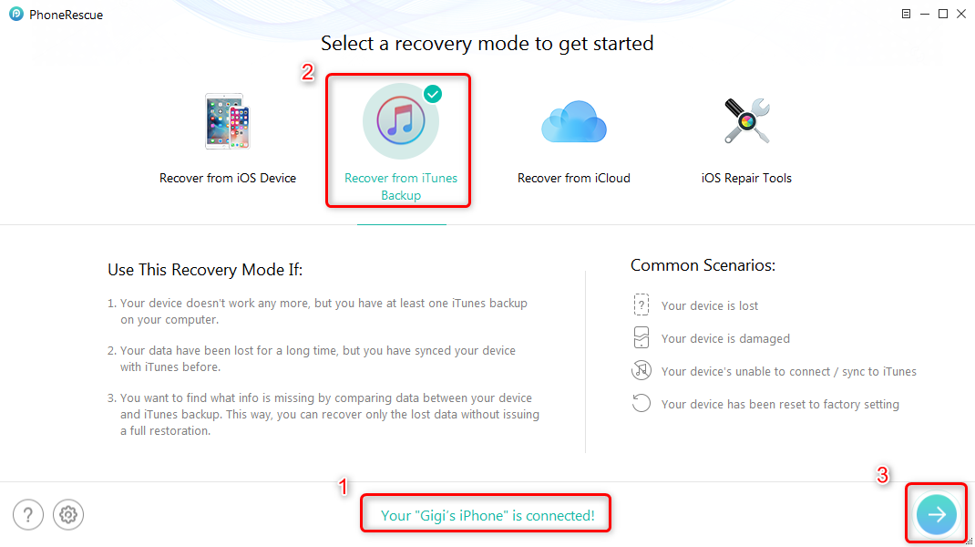 Selectively Restore Contacts from iTunes to iPhone XS/XR - Step 1