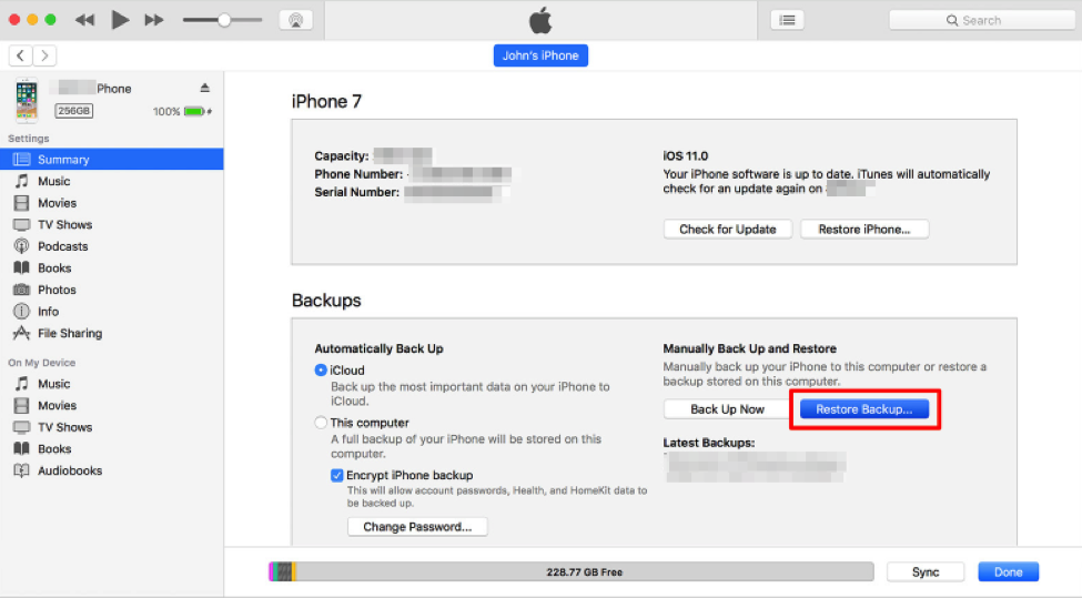 Restore iPad from iTunes – Step 2