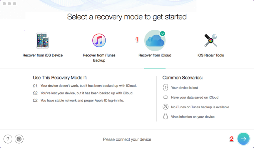 Selectively Restore iPhone XS (Max) from iCloud Backup – Step 1