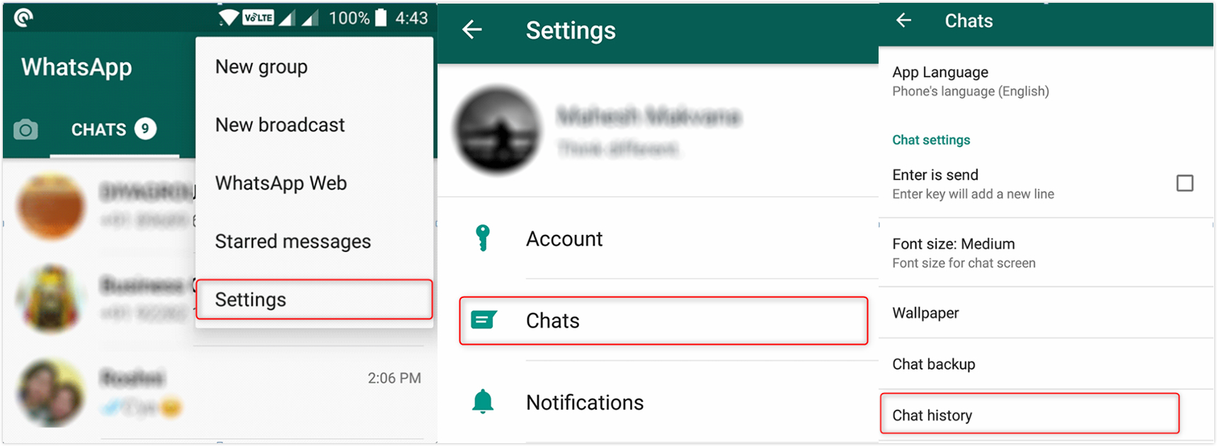 Transfer WhatsApp Messages from Android to iPhone using Email Chat - Step 1