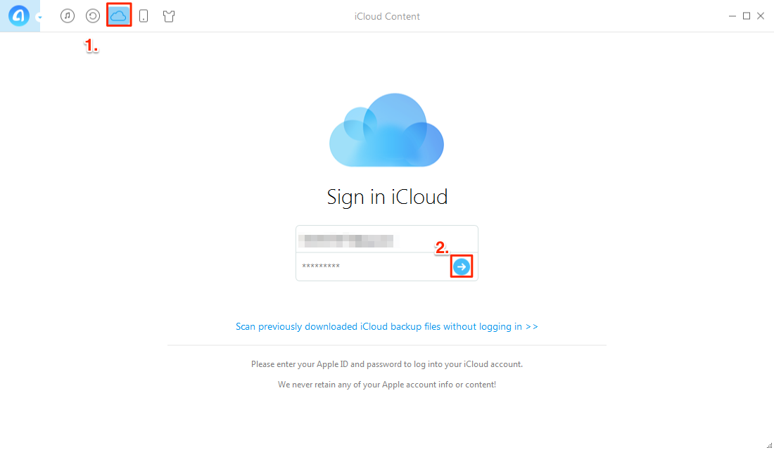 How to Retrieve Calendar from iCloud with AnyTrans – Step 2