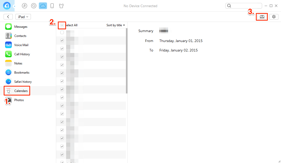 How to Retrieve Calendar from iCloud with AnyTrans – Step 4