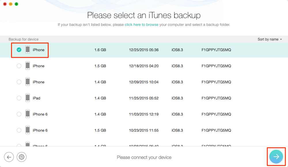 Recover Contacts from Broken iPhone via iTunes Backup – Step 2