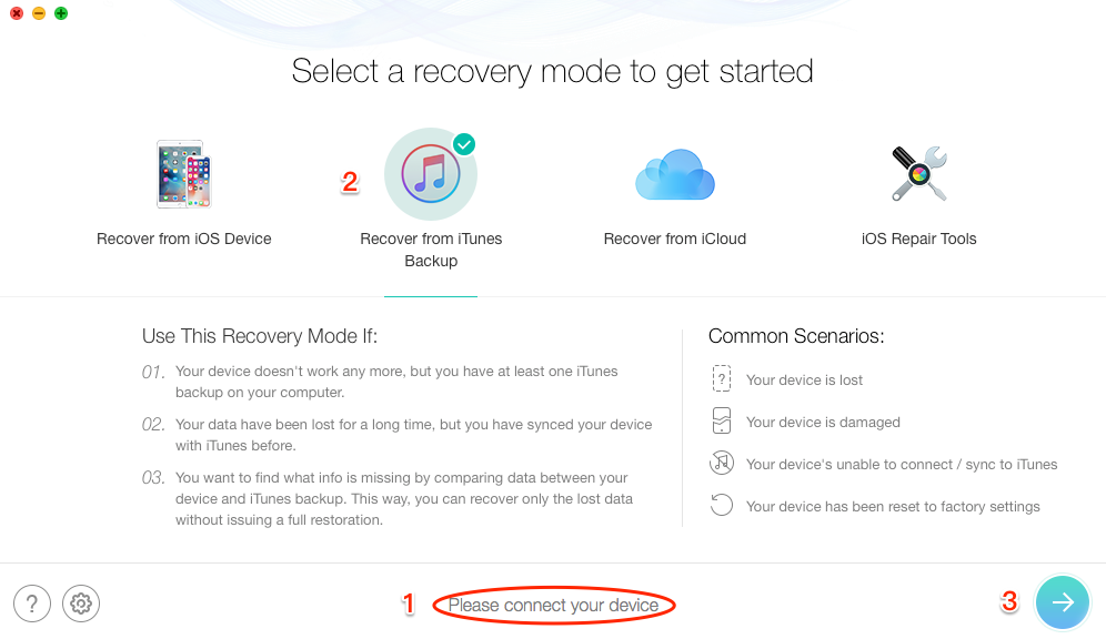 How to Recover Deleted Safari History on iPhone from iTunes Backup - Step 1
