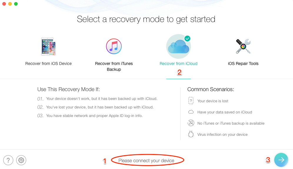 How to Recover Deleted Safari History on iPhone from iCloud Backup - Step 2