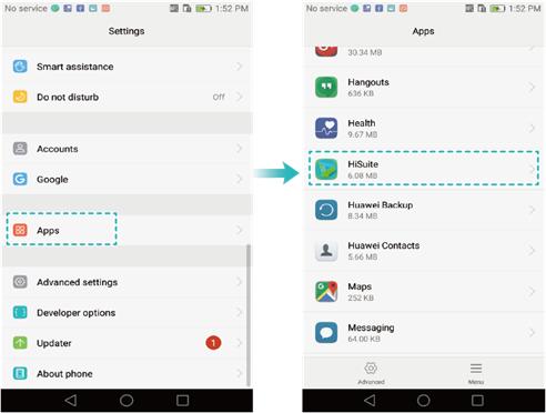 Access HiSuite options