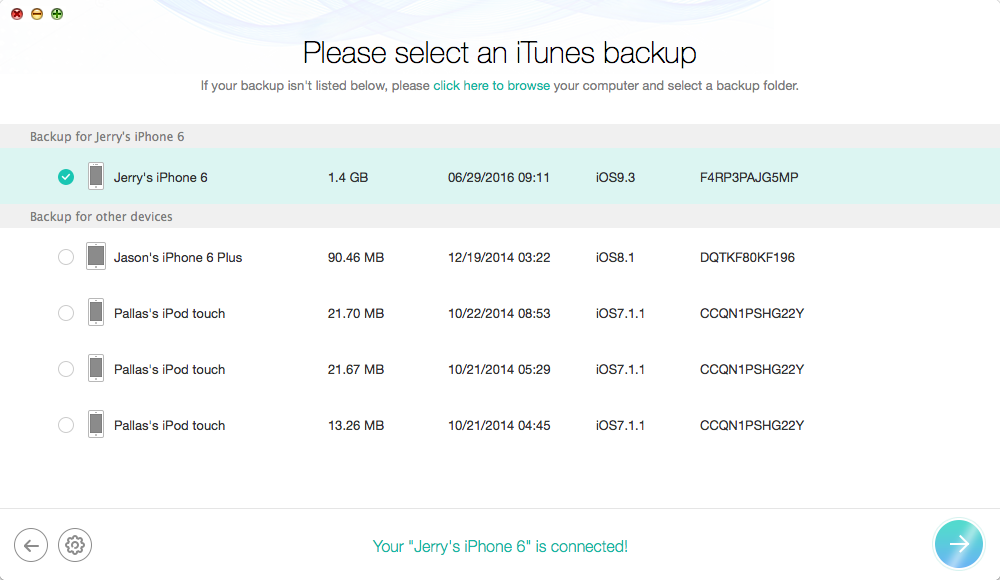 How to Retrieve Voice Memo from iTunes Backup – Step 2
