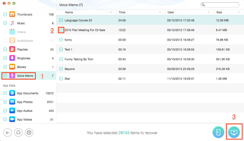 How to Retrieve Voice Memo from iTunes Backup – Step 4