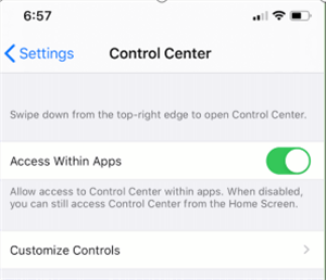 Navigate to the Control Center