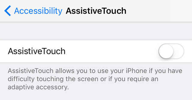 Enable Assistive Touch on the iPhone
