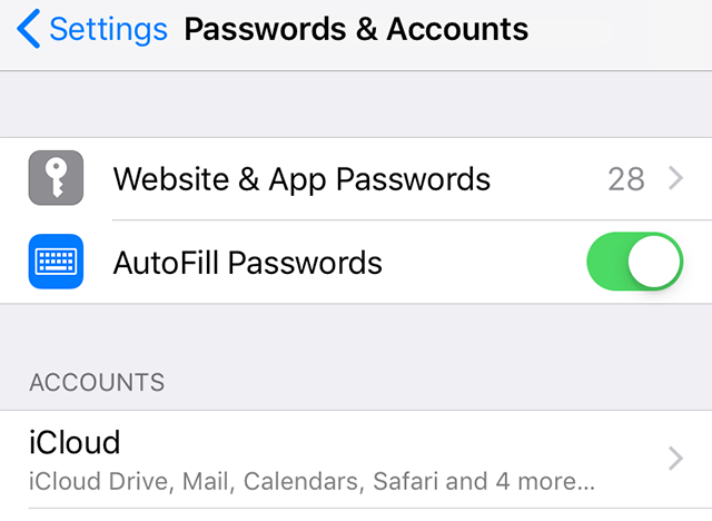 Click on the Website and App Passwords Option