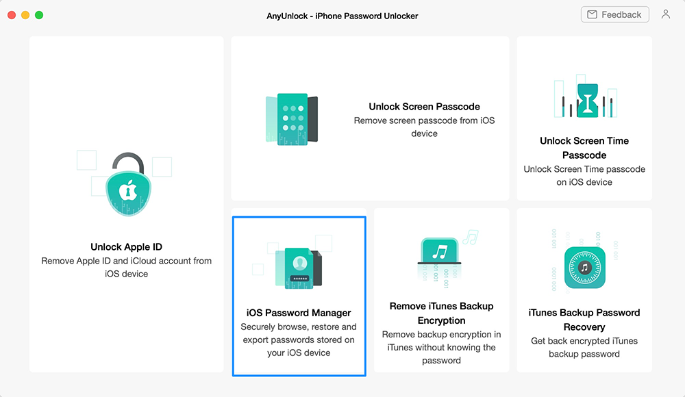 Choose iOS Password Manager Function in AnyUnlock