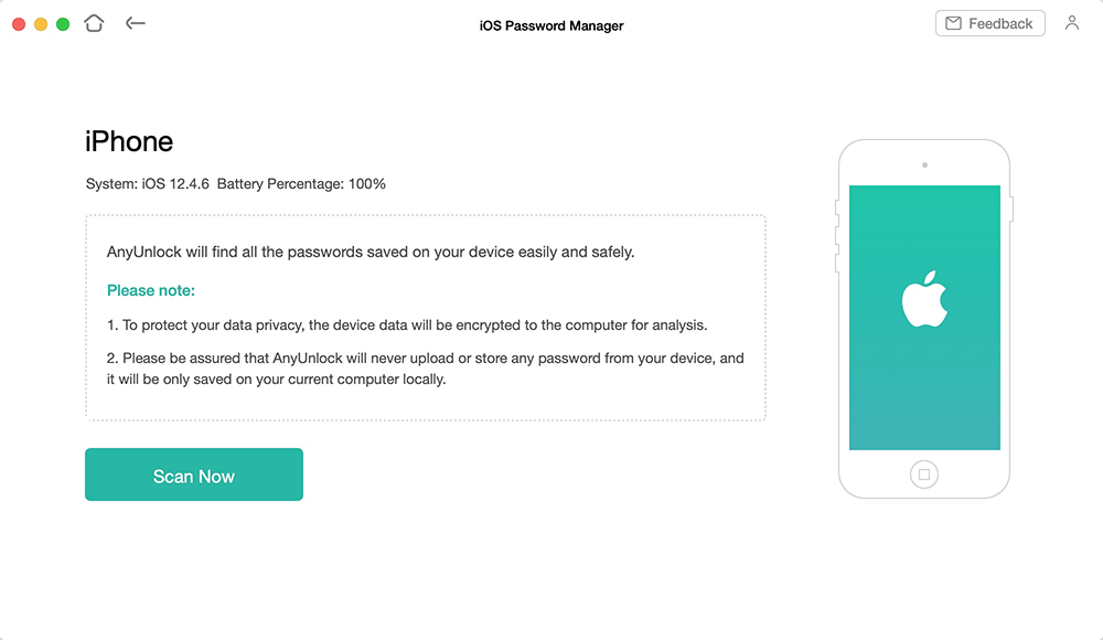 Click on Scan Now to Find Saved Passwords on iPhone