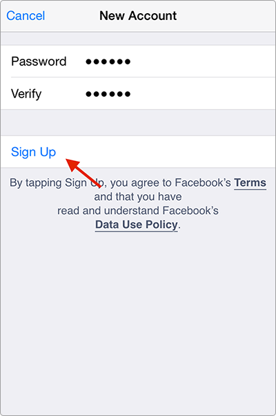 How to Create A Facebook Account on iPhone iPad - Step 2