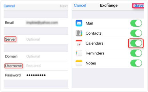 How to Share Exchange Calendar with iCloud - Step 2