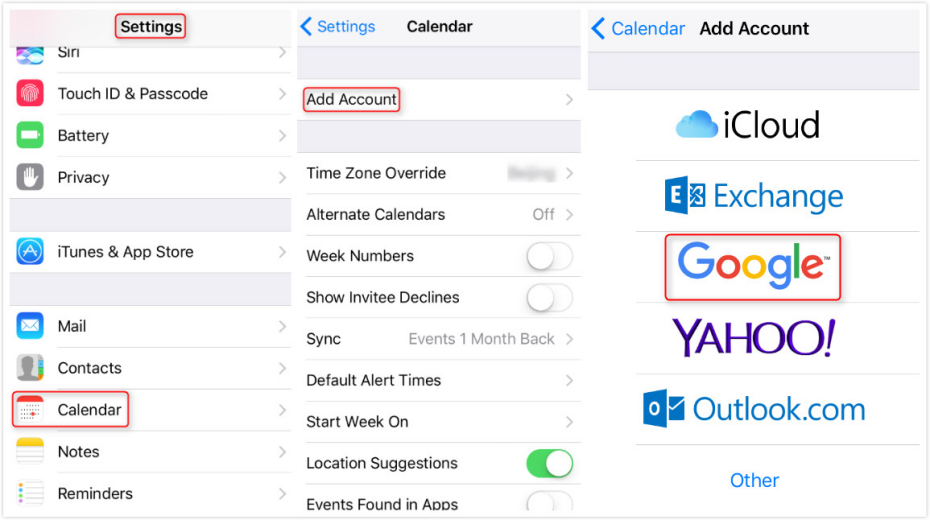 How to Share Google Calendar with iCloud - Step 1