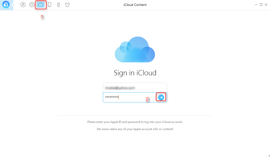 How to Export iCloud Backup to Computer - Step 1