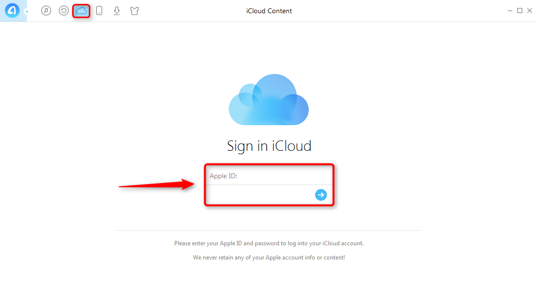 Share iCloud Contacts with AnyTrans - Step 1