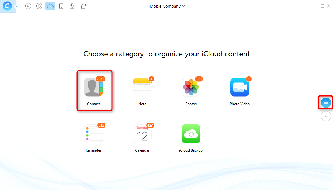 Share iCloud Contacts with AnyTrans - Step 2