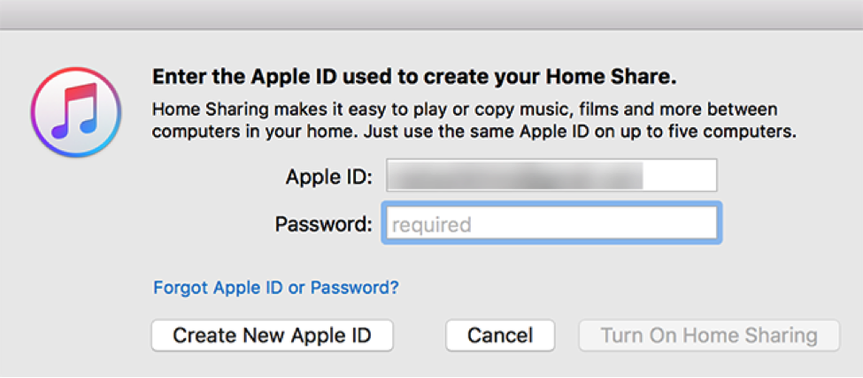 Password Verification for Enabling Home Sharing in iTunes