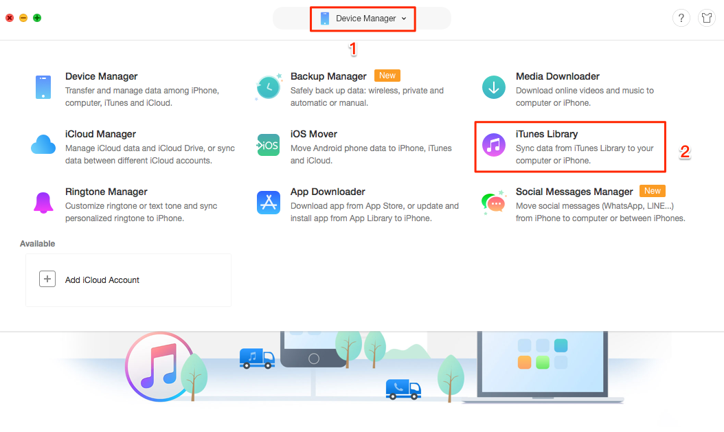 Share iTunes Library Using AnyTrans - Step 2