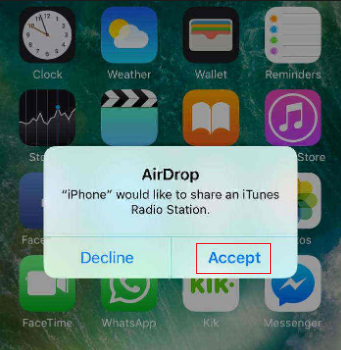 How to Share Music on iPhone to iPhone XS/XR/X/8/7 (Plus) with AirDrop - Step 3